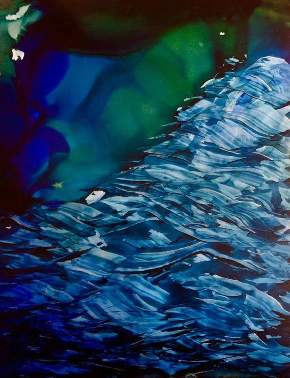 """Original Alcohol Ink Abstract """"Sink or Swim"""" (11"""" X 14"""")"""