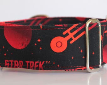 "Greyhound - Black and Red Star Trek 2"" Martingale Collar"