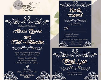 Navy blue fairy tale wedding invitation | Navy blue wedding invitation | Dark blue wedding invitation | Fairytale theme cards