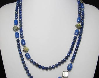 natural Lapis Lazuli Abalone shell and 925 Silver 45 inch Necklace