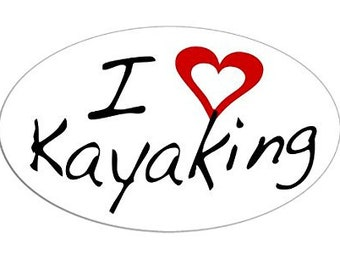 Oval I Heart Kayaking Sticker (kayak decal)