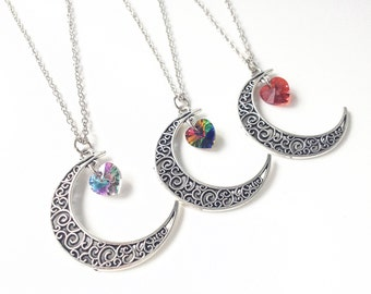 Crescent moon necklace with Swarovski Crystal heart,Sailor moon necklace,crescent moon jewelry