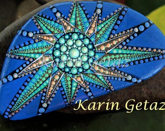 painted rock, mandala stone, painted stone, mandala rock, blue mandala, spiritual art, meditation art, star design, dots, rock art, kgetaz