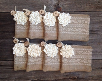 Set of 8 Rustic Wedding Clutch, Personalized Bridesmaid Gift Idea, Burlap and Lace Bags, Bridesmaid Clutch, Bridal Purse, Ivory Wedding Bag
