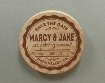 Personalized Save the Date Magnet - Wood Fridge Magnets - Wedding favor and Announcement