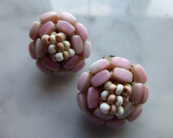 Vintage Pink Beaded Costume Jewelry Clip On Earrings, Made in West Germany, 1 Inch Round
