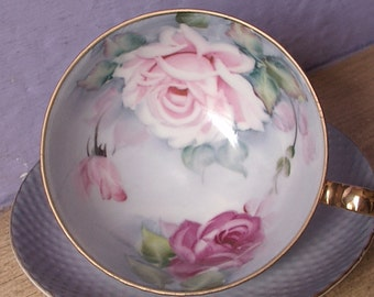 Antique Japanese Teacup and Saucer, Lefton hand painted tea cup, blue tea cup, porcelain tea cup, footed tea cup, pink roses tea cup