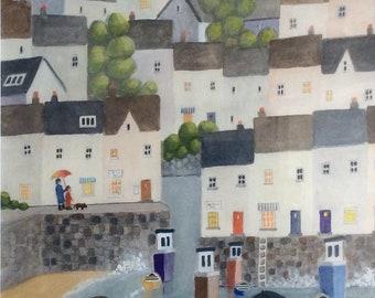 westcountry harbour, original acrylic, linda bartlett, coastal painting, seaside art, framed watercolour, devon, cornwall,seaside village,