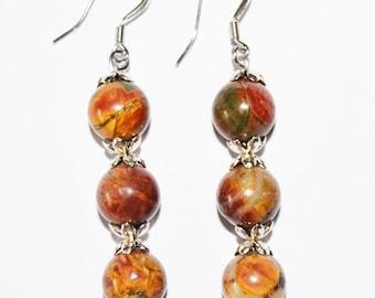 Picasso Jasper 10mm Stone Earrings,Colorful Jasper Stone Earrings,Jasper & Silver Earrings,Stainless Steel Non-Tarnish,Rainbow Colors Jasper