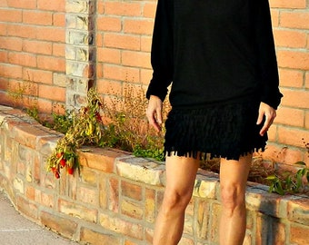 Skirts for Women-Mini Skirt-Short Skirt-Skirts-Wrap Skirt-Womens Clothing-Hand Cut Layered Fringe Callie Style