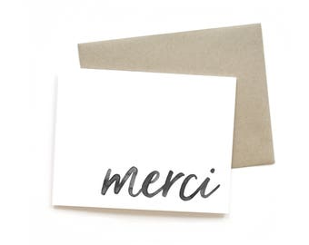 Merci || Greeting Card | Gratitude Card | Thank You Card | Sweet Card | Simple Card | Hand Lettered Card | Just Because Card