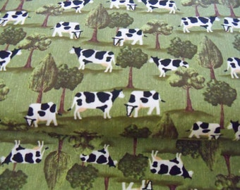 Down on the Farm ,Cows in the Field Cotton FABRIC, 1 yARD.