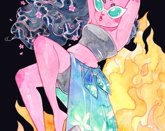 A5 Print Demon Babe Bathed in Flames