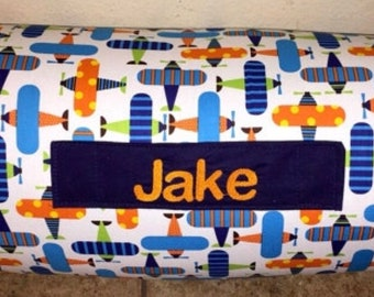 """Boy Nap Mat Personalized Preschool / Kinder Nap Mat in Organic Airplanes fabric with Pillow, Minky Blanket and 1"""" Memory foam"""