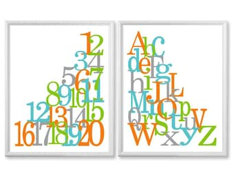 Teal Aqua Orange Green Grey Alphabet and Numbers Art, Nursery Print Set , ABC 123, 8x10 Kids Wall Art, Baby Wall Art, Nursery Decor