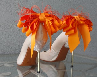 Bridal Party Wedding Tangerine  Satin Ribbon Bow And Feather Shoe Clips Set Of Two More Colors Available