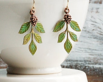 Pine Cone Leaf Earrings Green Branch Earrings Rustic Pinecone Twig Jewelry Woodland Wedding Forest Fairy Gift for Her Bridesmaid Jewelry