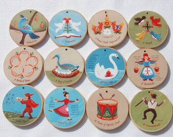 12 Days of CHRISTmas Ornaments for Advent and Christmas  - READY TO SHIP - Christian meanings included