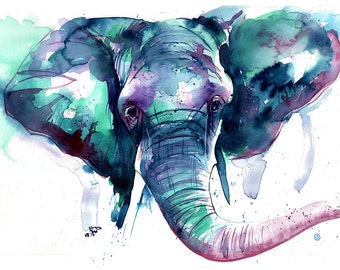 "Elephant Print of the original ""Jambo"" watercolour"