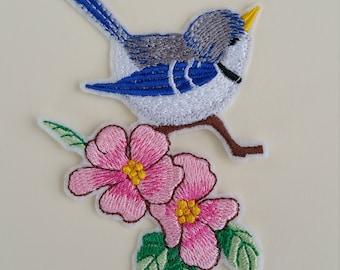 Bird iron on or sew on patch Flowers bird patch Iron on bird patch Sew on bird patch Bird applique Patch bird iron on Applique bird iron on