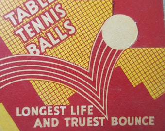 Vintage Table Tennis Balls, Vintage Ping Pong Balls, Windsor Victor Balls, Table Tennis Balls in Box, Graphics, Made in England