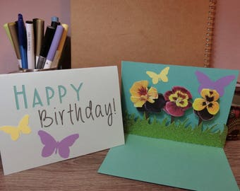 Flower Birthday Pop Up Card Template