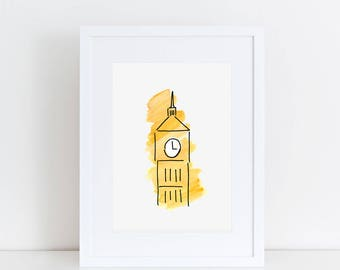 Big Ben London Art Print // London illustration, London prints, home decor, London gift, London landmark, watercolor painting