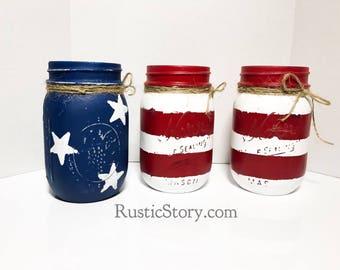 American Flag Mason Jar Decor