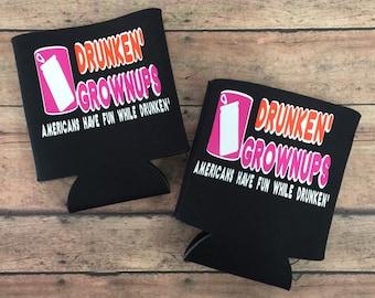 Drunkin' Grownups Beverage Cozy Pair (2).  Drinking, Party, Cozy, Funny Conversation Starter.