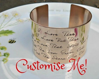 Pick Your Own Quote, Bronze Cuff Bracelet, Custom Cuff, Personalized Cuff,  Bronze Wedding Anniversary Gift, Valentines Gift.