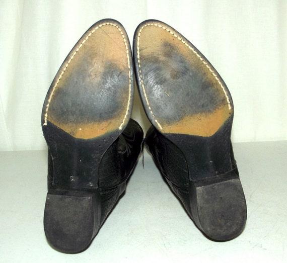 ce76a73c2ba4b Vintage rockabilly wide Vegan 5 western Black width Bronco EE Boots ...