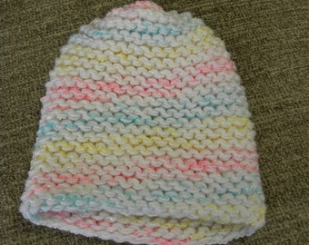 Chunky Knit White, Pink, Yellow, and Blue Child's Knit Hat with No Brim