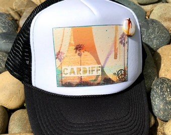 Trucker Hats, CARDIFF CA, limited ed. with custom made Pin Back button, One Size Fits All, foam trucker hat, Beach, Surf, Ocean, truck