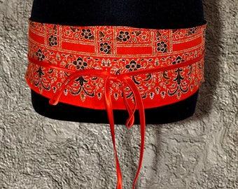 Batik Orange lined in satin black OBI belt COLLECTION