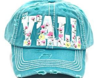 Floral Hey Y'all Distressed Trucker Hat - Turquoise