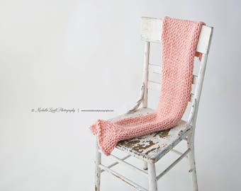 Hand Knit Luxury Baby Wrap in Peach, Ready to Ship Item