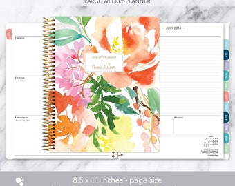 8.5x11 WEEKLY PLANNER 2018 2019 | choose your start month | 12 month calendar | LARGE weekly planner | citrus watercolor floral