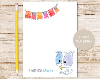 dog personalized notepad . puppy dog note pad . watercolor . personalized stationery . kids, childrens stationary