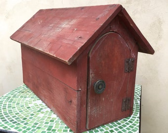 Vintage Folk Art Mailbox Rustic Barn Red Roofed House Storage
