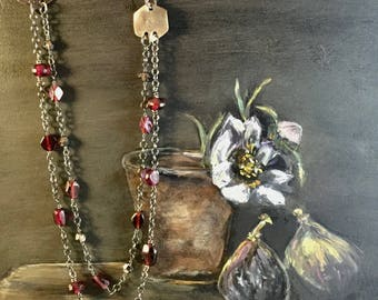 Oxidized Sterling Silver Necklace with natural Garnet Gemstones and Swarovski Crystal Beads, January Birth Stone