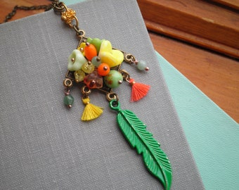 Feather & Flowers Beaded Necklace - Wire Wrapped Czech Glass Flower Bead Necklace - Kelly Green Feather Boho Floral Wanderlust Jewelry Gift