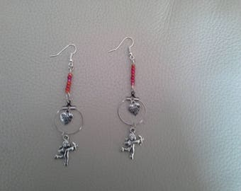 earring beads and Cupid heart ring