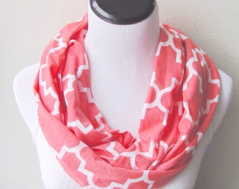 Coral Scarf, Coral Infinity Scarf. Coral Geometric Scarf.Coral  Trellis  Scarf. loop Scarf.Circle Scarf. Infinity Scarf.