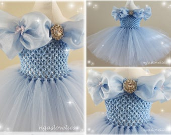 New* Disney Inspired Cinderella Dress - Princess Dress - Tutu Dress - Costume Dress - Halloween - Baby, Girl, Kids Dress