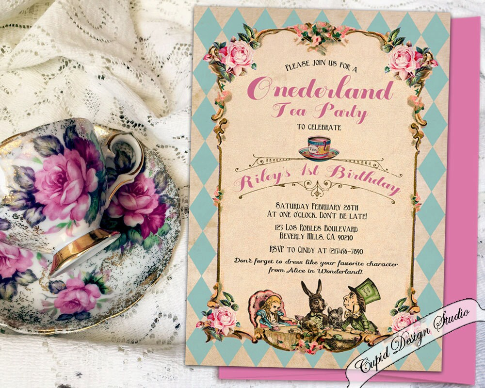 Printable Alice in Wonderland 1st Birthday invitation Printed