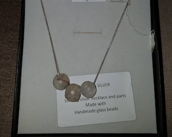 Sterling silver necklace with frosted glass beads