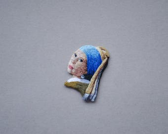 Girlfriend jewelry idea girlfriend brooch gift renaissance jewelry idea for mom art gift brooch embroidered brooch girl with pearl earring