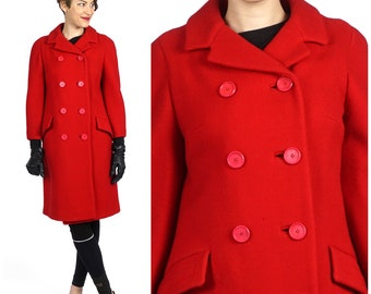 Vintage 60s Double-Breasted Peacoat in Cherry Red with 3/4-Length Sleeves by l. Magnin   Medium
