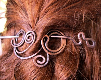 "Copper Hair Clip, SAMPLE Photo,  Antiqued,   ""Kelli"""