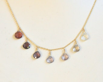 Multicolored Spinel Necklace- Pink Necklace- Gemstone Necklace- Ombre Necklace- Gold filled Necklace- Gradation Necklace- Delicate Teardrops